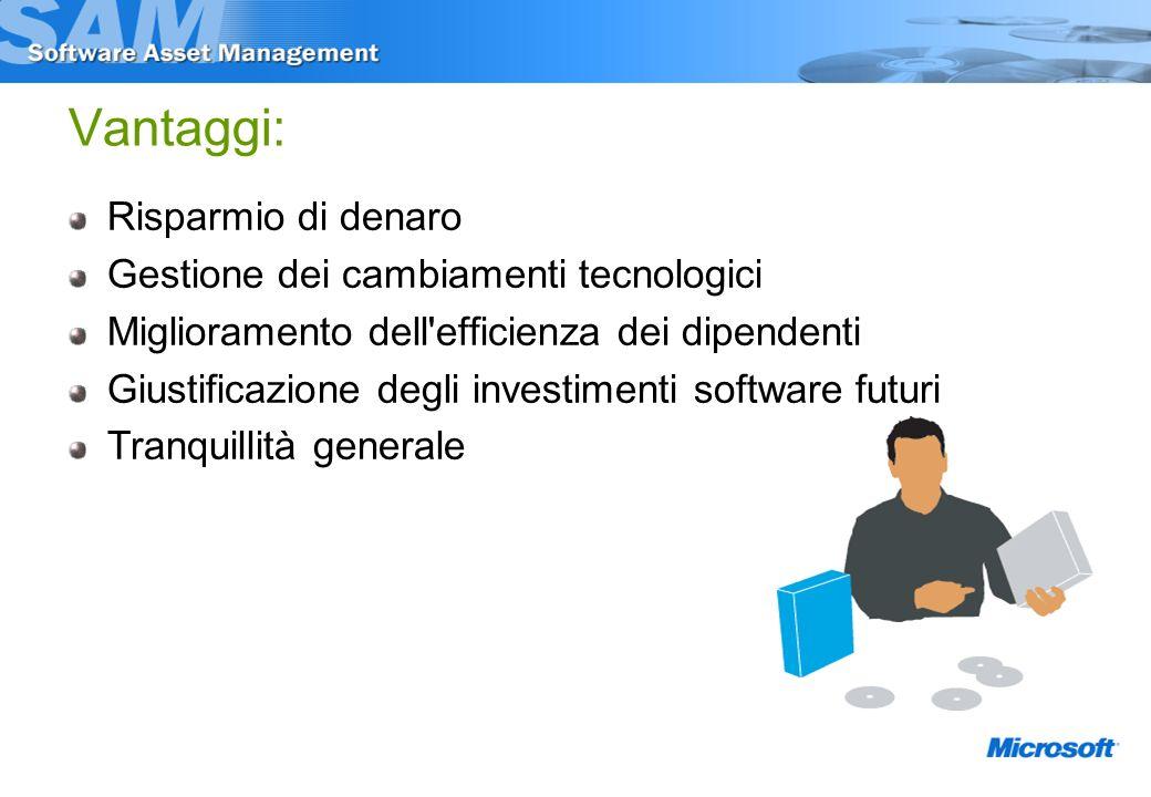 Vantaggi: Risparmio di denaro Gestione dei cambiamenti tecnologici Miglioramento dell efficienza dei dipendenti Giustificazione degli investimenti software futuri Tranquillità generale