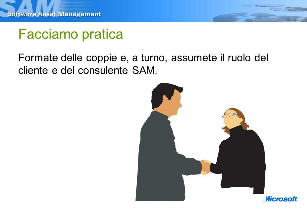 Facciamo pratica Formate delle coppie e, a turno, assumete il ruolo del cliente e del consulente SAM.