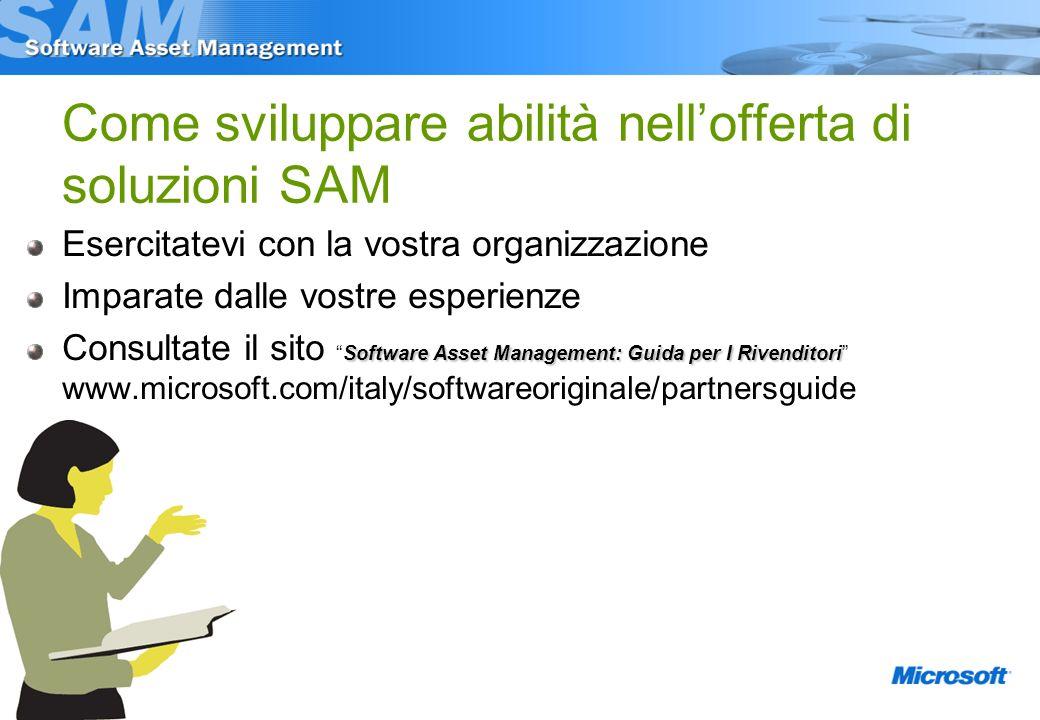 Esercitatevi con la vostra organizzazione Imparate dalle vostre esperienze Software Asset Management: Guida per I Rivenditori Consultate il sitoSoftware Asset Management: Guida per I Rivenditori www.microsoft.com/italy/softwareoriginale/partnersguide