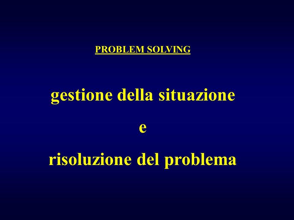 PROBLEM SOLVING gestione della situazione e risoluzione del problema