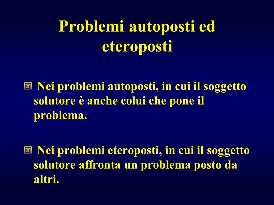 Problemi autoposti ed eteroposti Nei problemi autoposti, in cui il soggetto solutore è anche colui che pone il problema. Nei problemi eteroposti, in c