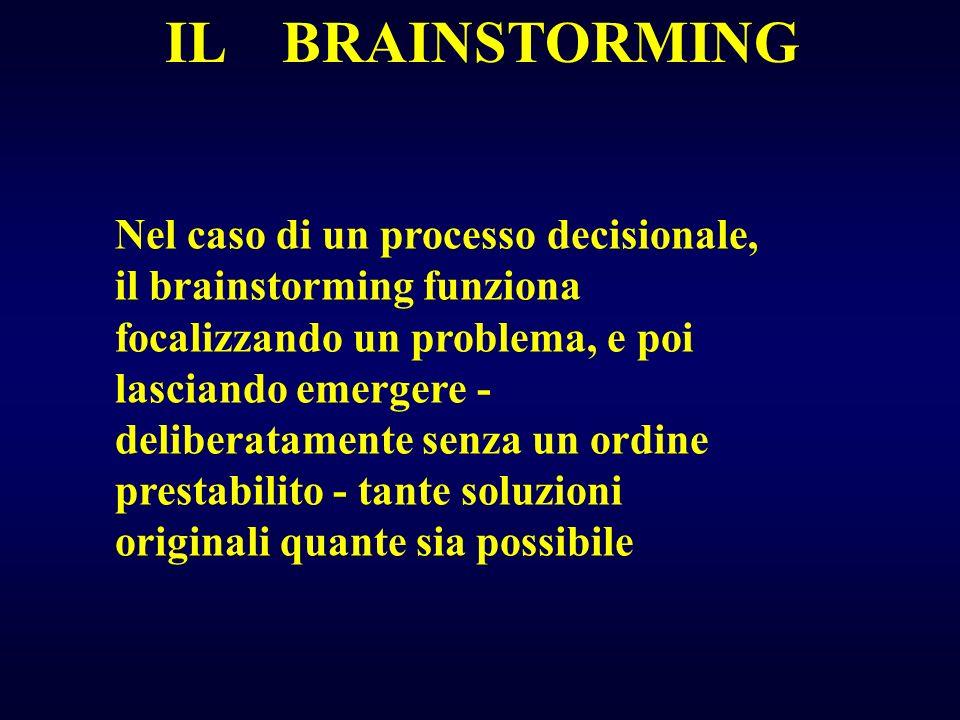 IL BRAINSTORMING Nel caso di un processo decisionale, il brainstorming funziona focalizzando un problema, e poi lasciando emergere - deliberatamente s