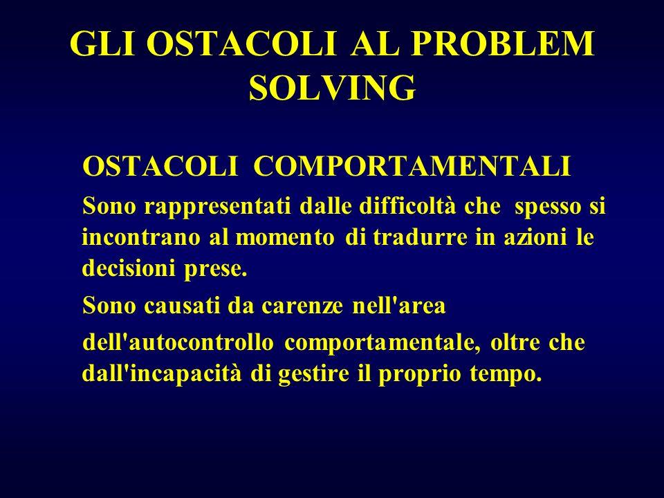GLI OSTACOLI AL PROBLEM SOLVING OSTACOLI COMPORTAMENTALI Sono rappresentati dalle difficoltà che spesso si incontrano al momento di tradurre in azioni