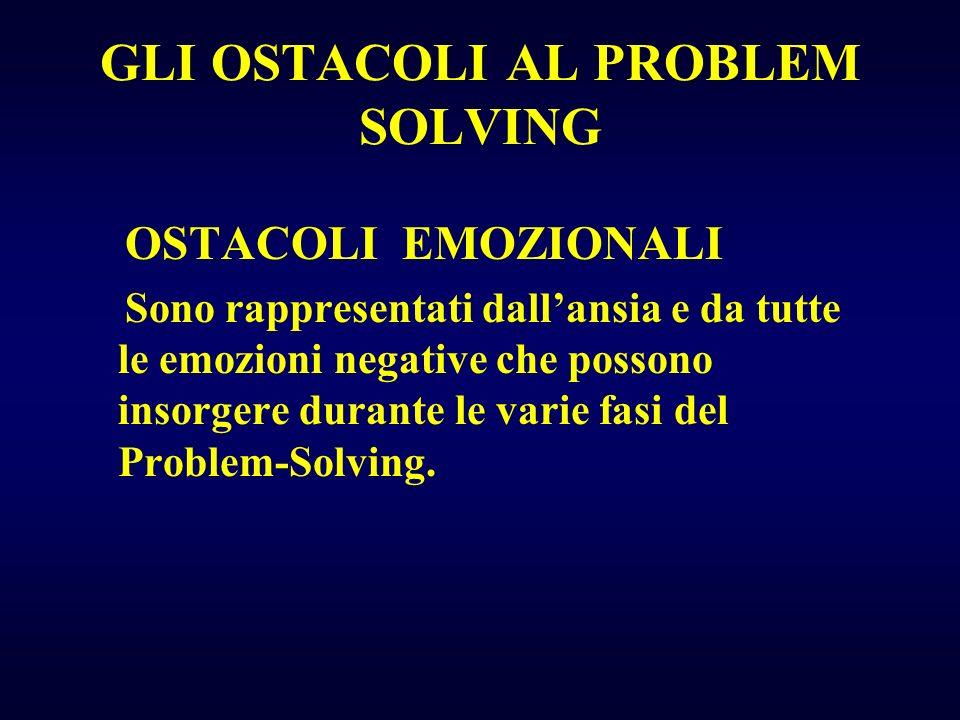 GLI OSTACOLI AL PROBLEM SOLVING OSTACOLI EMOZIONALI Sono rappresentati dallansia e da tutte le emozioni negative che possono insorgere durante le vari