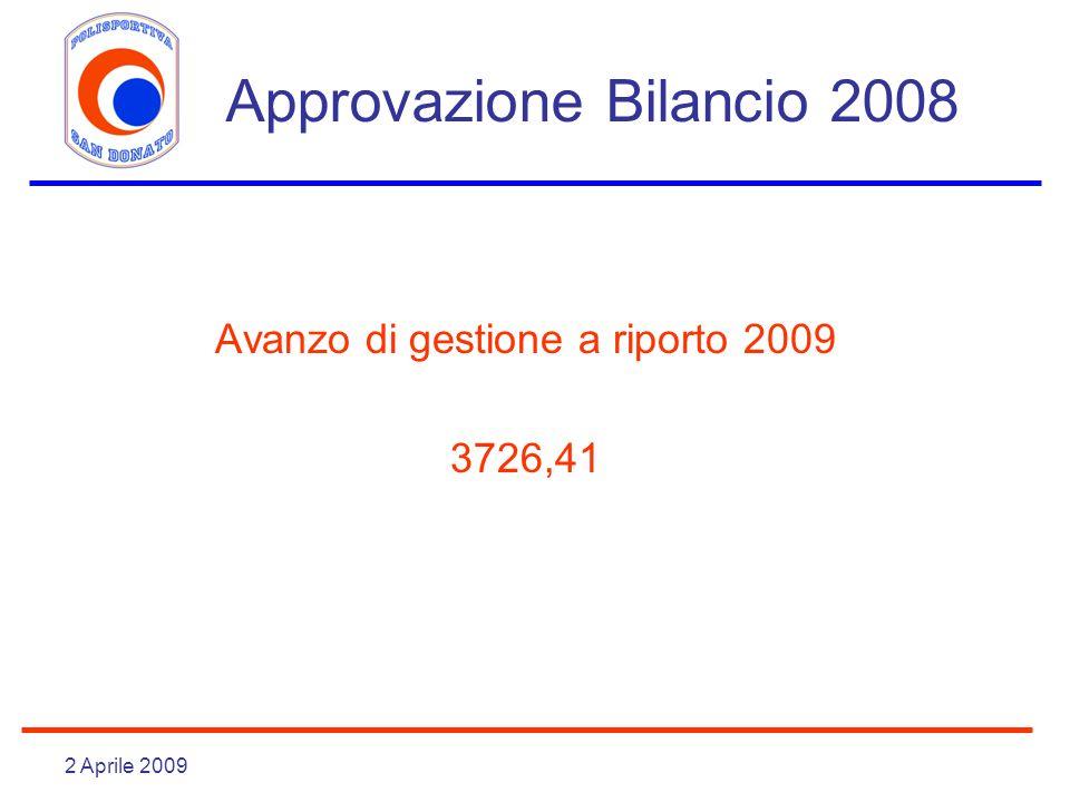 2 Aprile 2009 Approvazione Bilancio 2008 Avanzo di gestione a riporto 2009 3726,41
