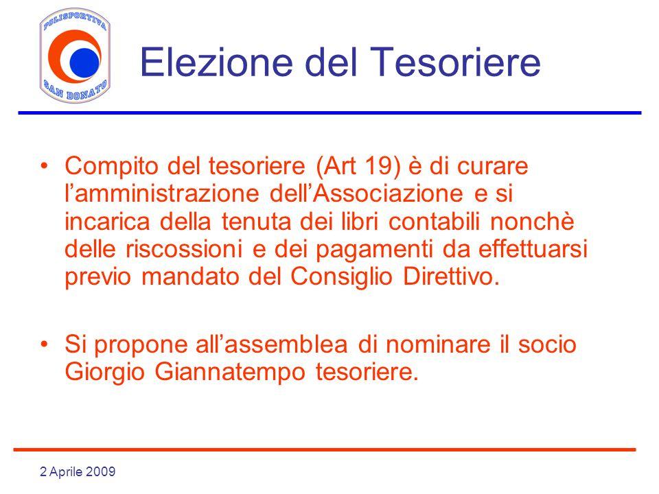 2 Aprile 2009 Elezione del Tesoriere Compito del tesoriere (Art 19) è di curare lamministrazione dellAssociazione e si incarica della tenuta dei libri