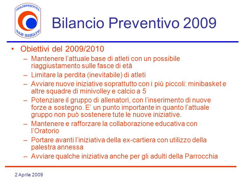 2 Aprile 2009 Bilancio Preventivo 2009 Obiettivi del 2009/2010 –Mantenere lattuale base di atleti con un possibile riaggiustamento sulle fasce di età