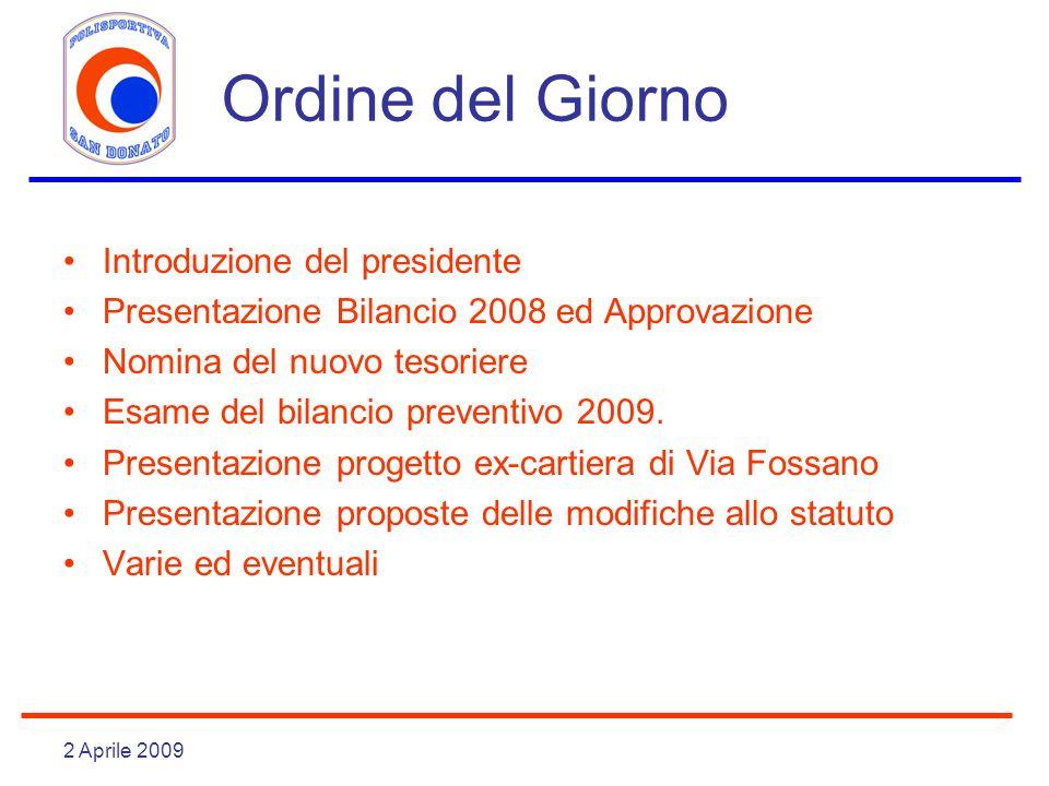 2 Aprile 2009 Ordine del Giorno Introduzione del presidente Presentazione Bilancio 2008 ed Approvazione Nomina del nuovo tesoriere Esame del bilancio