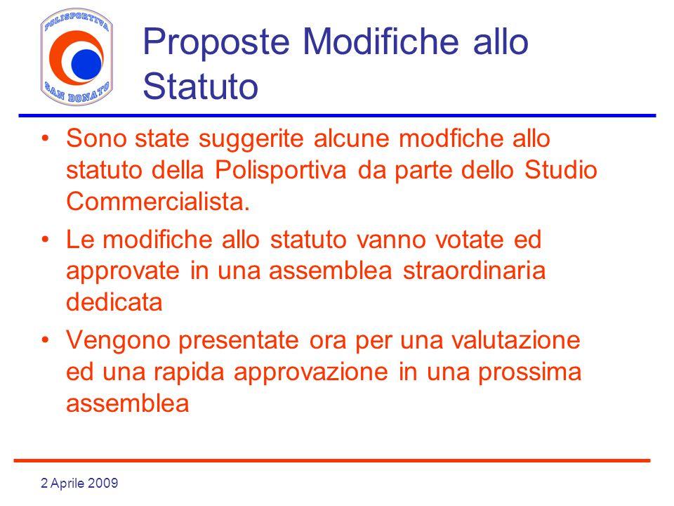 2 Aprile 2009 Proposte Modifiche allo Statuto Sono state suggerite alcune modfiche allo statuto della Polisportiva da parte dello Studio Commercialista.