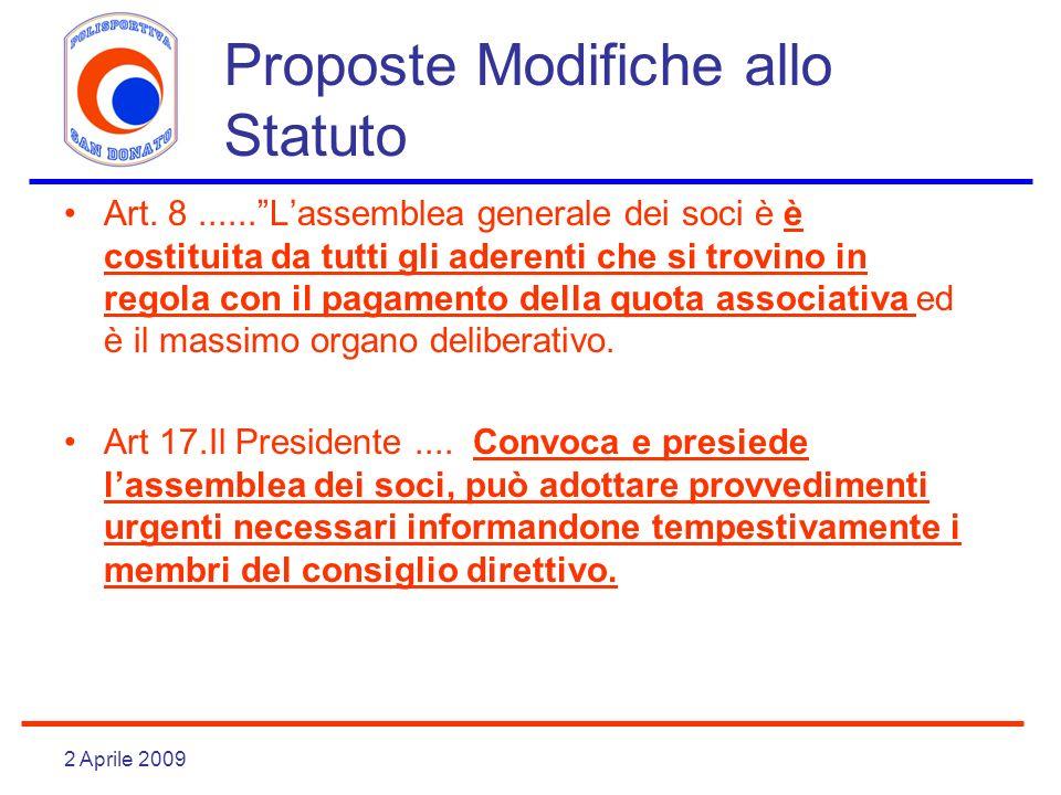 2 Aprile 2009 Proposte Modifiche allo Statuto Art. 8......Lassemblea generale dei soci è è costituita da tutti gli aderenti che si trovino in regola c