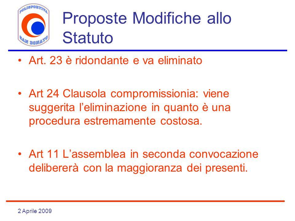 2 Aprile 2009 Proposte Modifiche allo Statuto Art. 23 è ridondante e va eliminato Art 24 Clausola compromissionia: viene suggerita leliminazione in qu