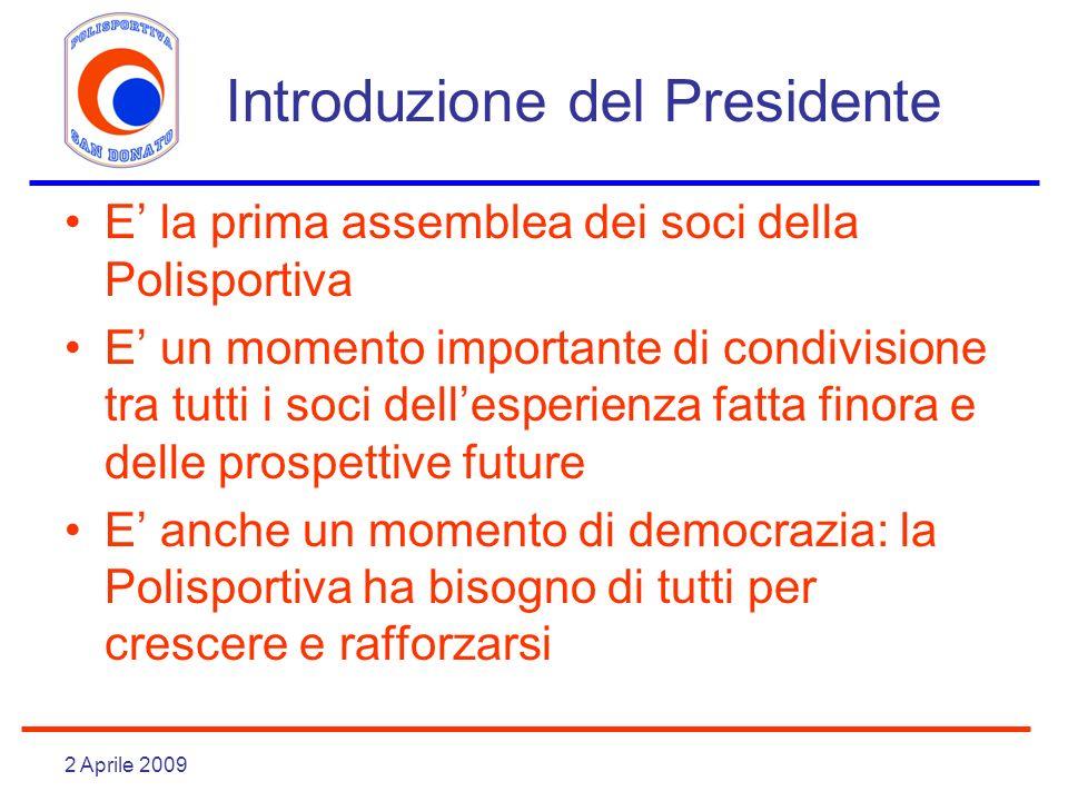 2 Aprile 2009 Introduzione del Presidente E la prima assemblea dei soci della Polisportiva E un momento importante di condivisione tra tutti i soci de