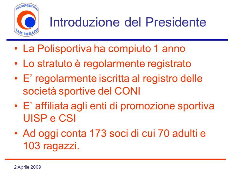 2 Aprile 2009 Introduzione del Presidente La Polisportiva ha compiuto 1 anno Lo stratuto è regolarmente registrato E regolarmente iscritta al registro