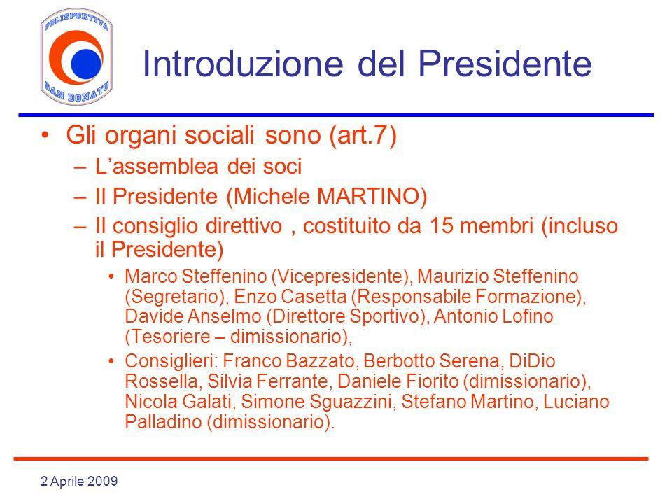 2 Aprile 2009 Introduzione del Presidente Gli organi sociali sono (art.7) –Lassemblea dei soci –Il Presidente (Michele MARTINO) –Il consiglio direttiv