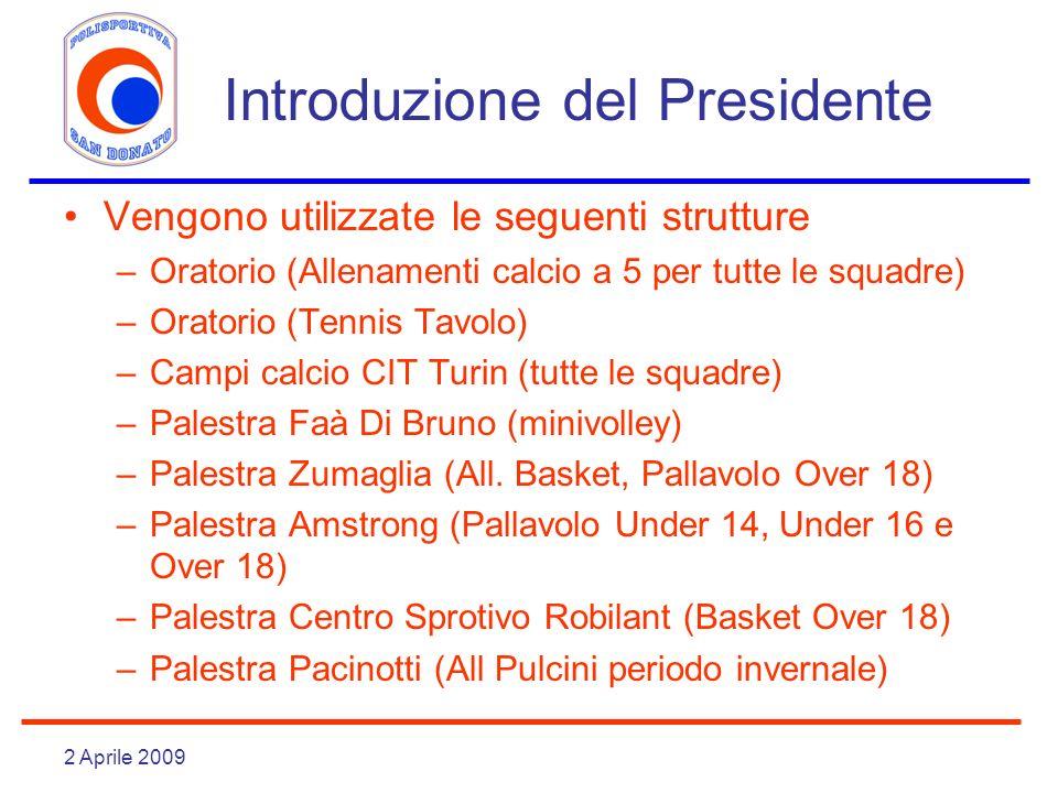 2 Aprile 2009 Introduzione del Presidente Vengono utilizzate le seguenti strutture –Oratorio (Allenamenti calcio a 5 per tutte le squadre) –Oratorio (