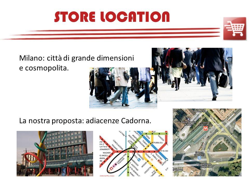 STORE LOCATION Milano: città di grande dimensioni e cosmopolita. La nostra proposta: adiacenze Cadorna.