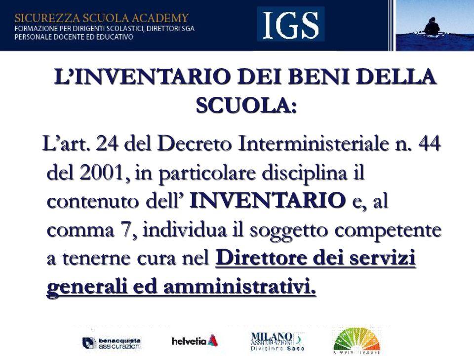 15 LINVENTARIO DEI BENI DELLA SCUOLA: LINVENTARIO DEI BENI DELLA SCUOLA: Lart.