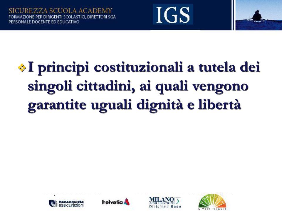 26 I principi costituzionali a tutela dei singoli cittadini, ai quali vengono garantite uguali dignità e libertà I principi costituzionali a tutela dei singoli cittadini, ai quali vengono garantite uguali dignità e libertà
