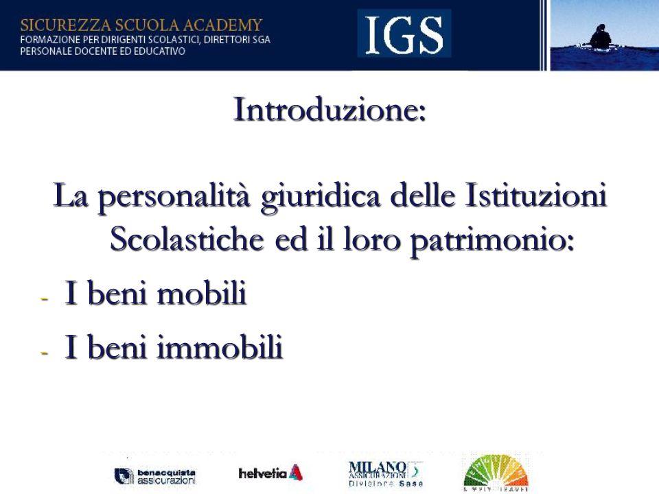 3 Introduzione: La personalità giuridica delle Istituzioni Scolastiche ed il loro patrimonio: - I beni mobili - I beni immobili