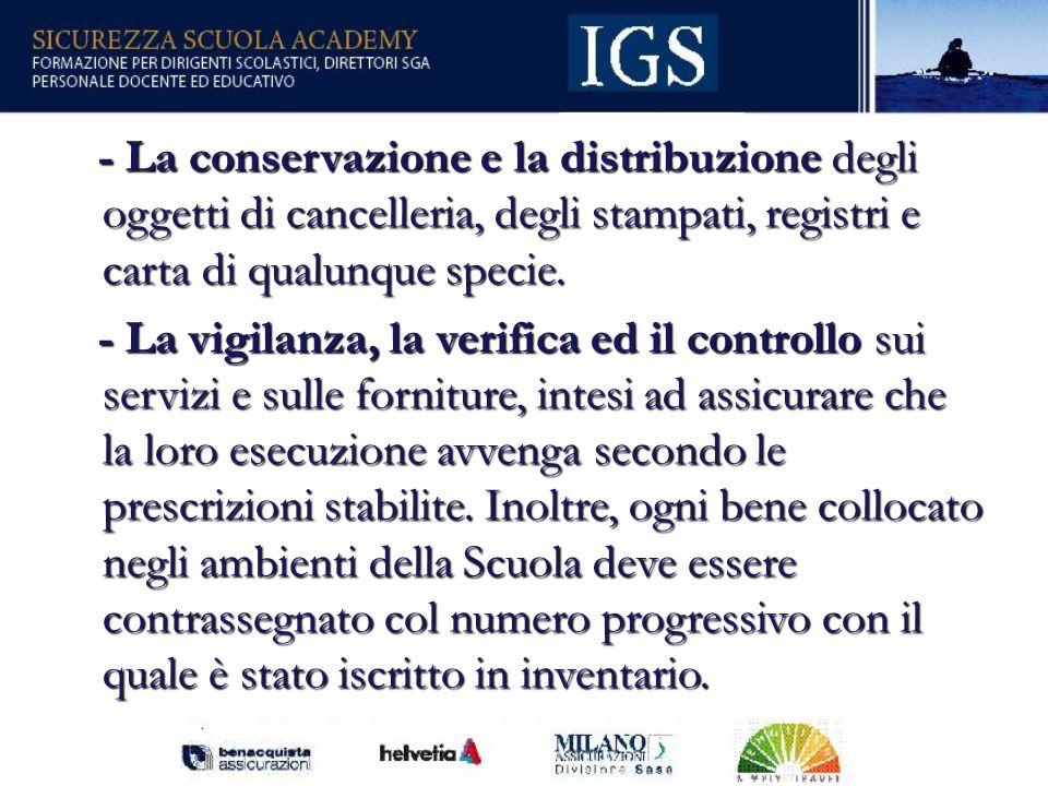 50 - La conservazione e la distribuzione degli oggetti di cancelleria, degli stampati, registri e carta di qualunque specie.