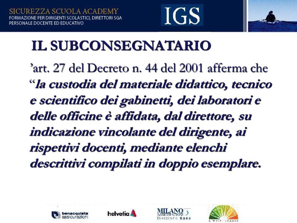 53 IL SUBCONSEGNATARIO IL SUBCONSEGNATARIO art.27 del Decreto n.