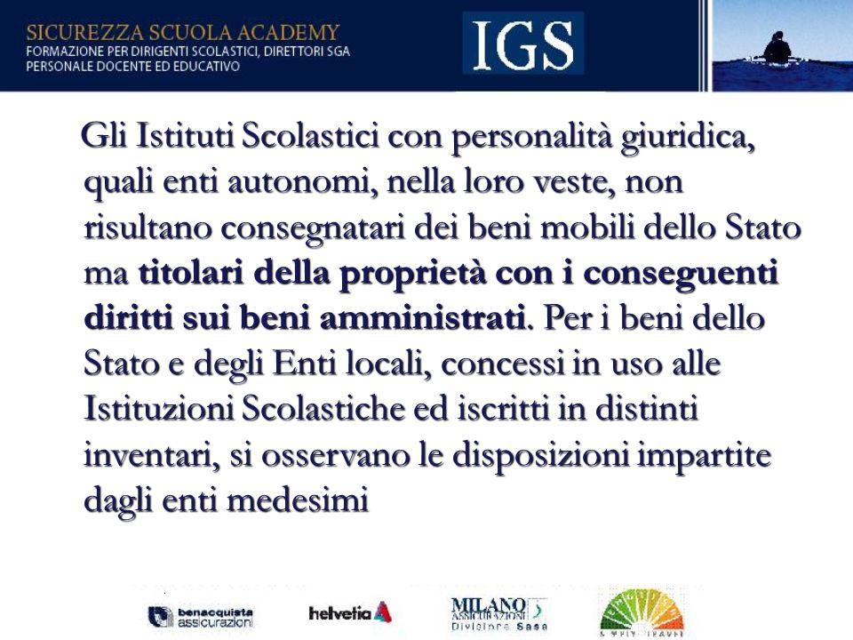 8 I BENI DELLE ISTITUZIONI SCOLASTICHE I beni degli Istituti Scolastici si suddividono in beni immobili (art.