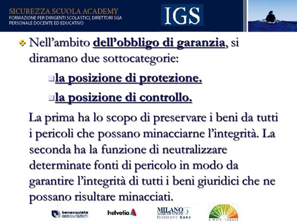 86 Nellambito dellobbligo di garanzia, si diramano due sottocategorie: Nellambito dellobbligo di garanzia, si diramano due sottocategorie: la posizione di protezione.