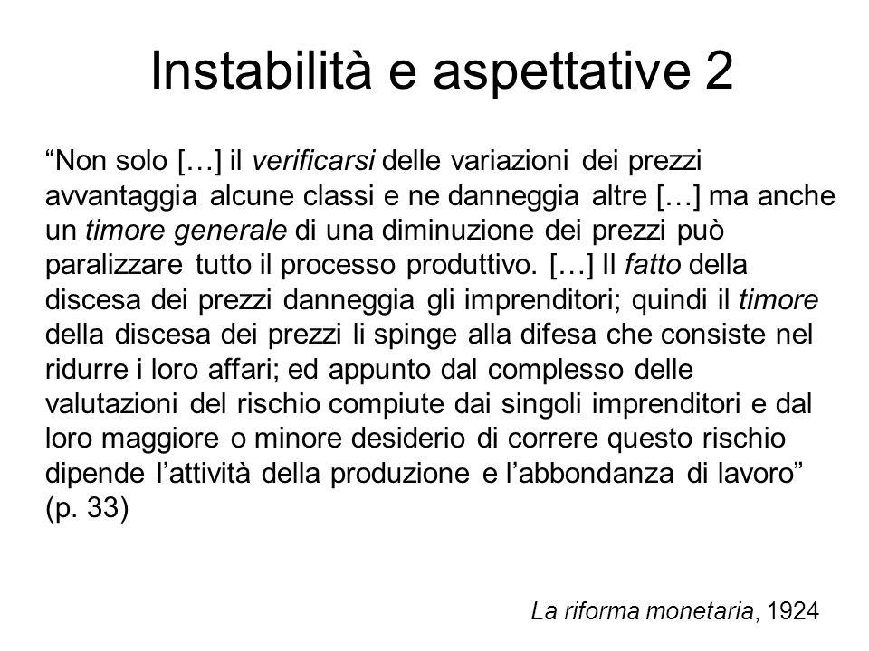 Instabilità e aspettative 2 Non solo […] il verificarsi delle variazioni dei prezzi avvantaggia alcune classi e ne danneggia altre […] ma anche un tim