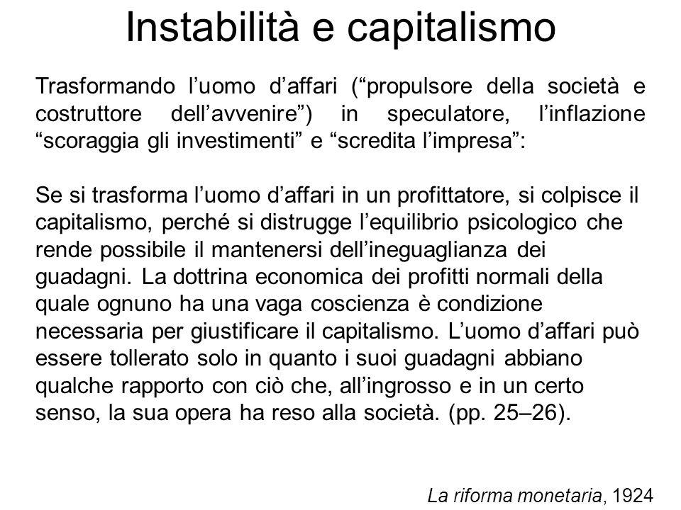 Instabilità e capitalismo Trasformando luomo daffari (propulsore della società e costruttore dellavvenire) in speculatore, linflazione scoraggia gli i