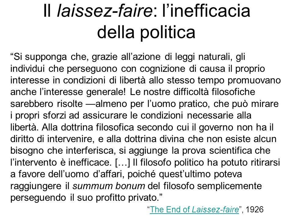 Il laissez-faire: linefficacia della politica Si supponga che, grazie allazione di leggi naturali, gli individui che perseguono con cognizione di caus