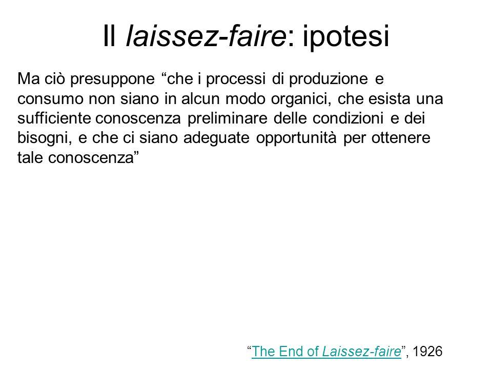 Il laissez-faire: ipotesi Ma ciò presuppone che i processi di produzione e consumo non siano in alcun modo organici, che esista una sufficiente conosc
