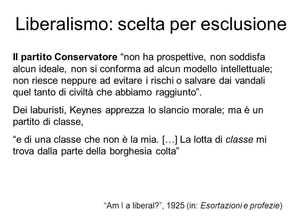 Liberalismo: scelta per esclusione Il partito Conservatore non ha prospettive, non soddisfa alcun ideale, non si conforma ad alcun modello intellettua