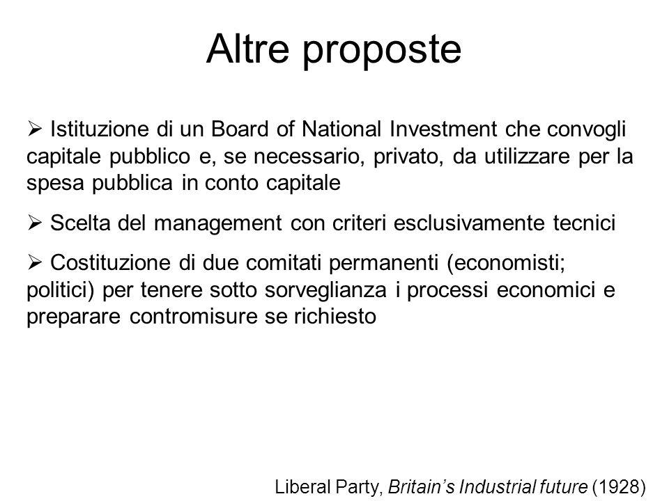 Altre proposte Istituzione di un Board of National Investment che convogli capitale pubblico e, se necessario, privato, da utilizzare per la spesa pub