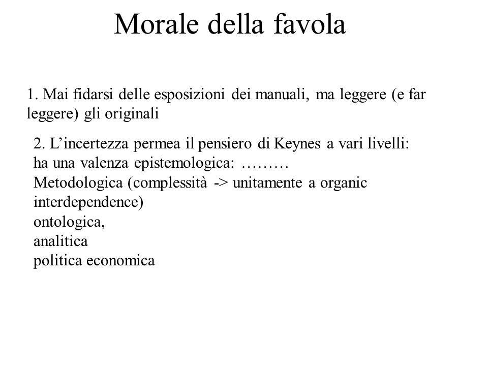 Morale della favola 1. Mai fidarsi delle esposizioni dei manuali, ma leggere (e far leggere) gli originali 2. Lincertezza permea il pensiero di Keynes