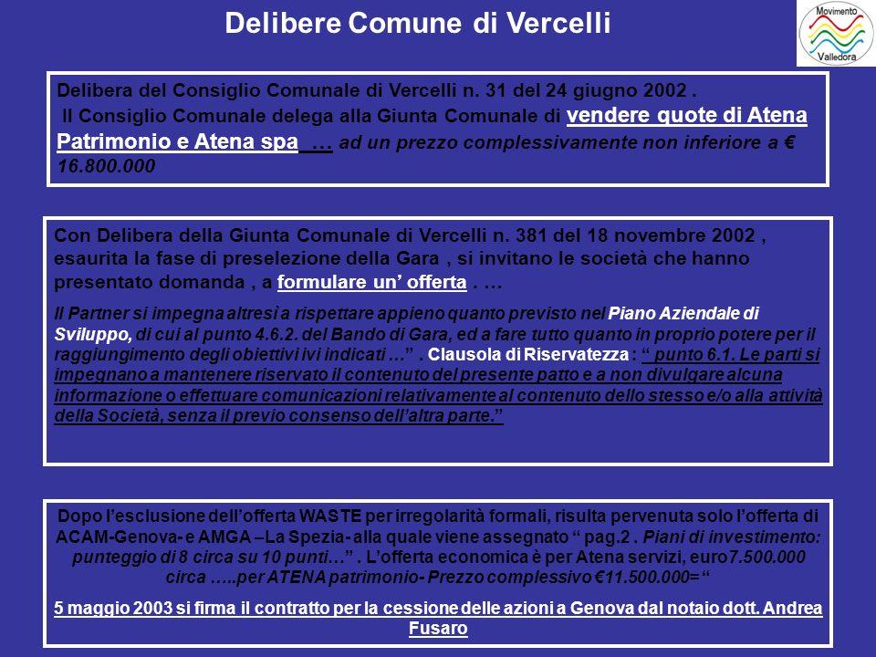 Delibera del Consiglio Comunale di Vercelli n. 31 del 24 giugno 2002.