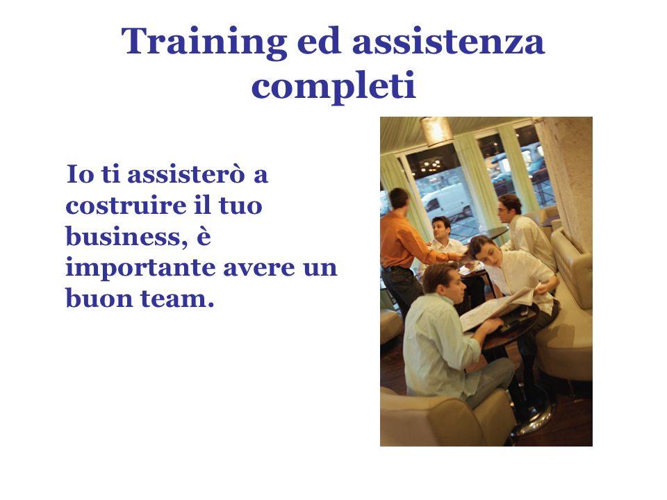 Training ed assistenza completi Io ti assisterò a costruire il tuo business, è importante avere un buon team.