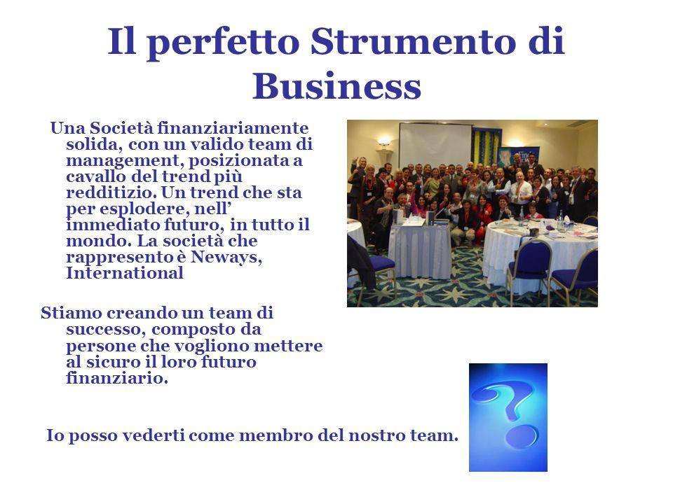 Il perfetto Strumento di Business Una Società finanziariamente solida, con un valido team di management, posizionata a cavallo del trend più redditizio.
