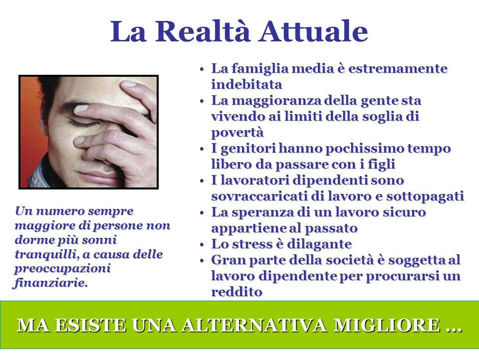 La Realtà Attuale MA ESISTE UNA ALTERNATIVA MIGLIORE … Un numero sempre maggiore di persone non dorme più sonni tranquilli, a causa delle preoccupazioni finanziarie.