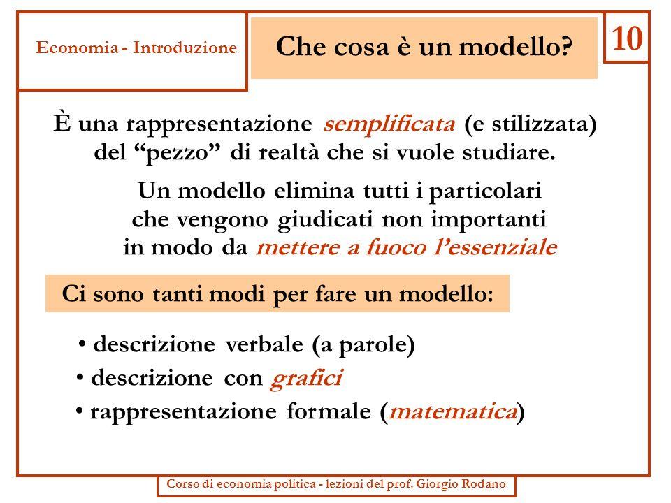 Che cosa è un modello? È una rappresentazione semplificata (e stilizzata) del pezzo di realtà che si vuole studiare. Ci sono tanti modi per fare un mo