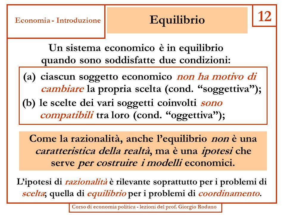 Equilibrio (b) le scelte dei vari soggetti coinvolti sono compatibili tra loro (cond. oggettiva); (a) ciascun soggetto economico non ha motivo di camb