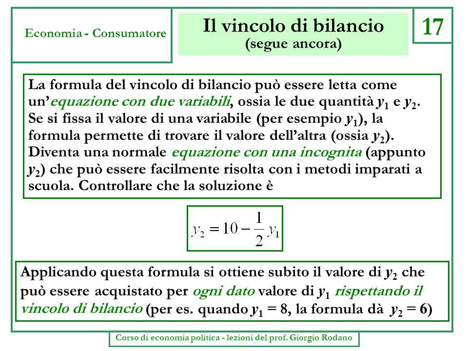 Il vincolo di bilancio (segue ancora) Applicando questa formula si ottiene subito il valore di y 2 che può essere acquistato per ogni dato valore di y