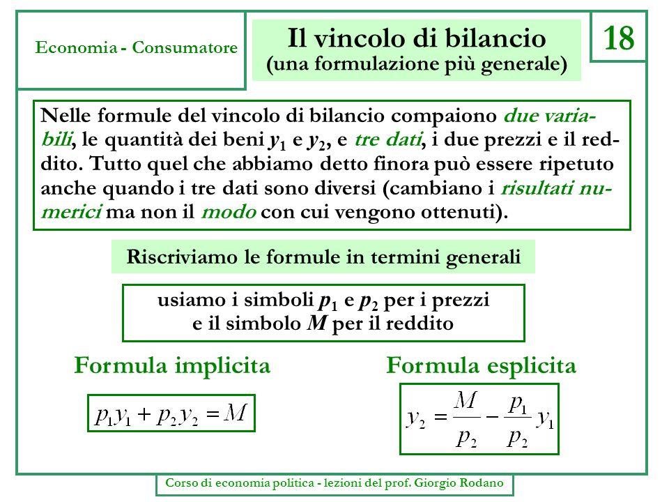 18 Il vincolo di bilancio (una formulazione più generale) Nelle formule del vincolo di bilancio compaiono due varia- bili, le quantità dei beni y 1 e
