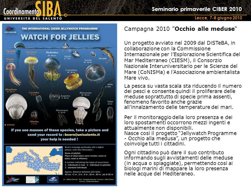 Seminario primaverile CIBER 2010 Lecce, 7-8 giugno 2010 Campagna 2010 Occhio alle meduse Un progetto avviato nel 2009 dal DiSTeBA, in collaborazione con la Commissione Internazionale per lEsplorazione Scientifica del Mar Mediterraneo (CIESM), il Consorzio Nazionale Interuniversitario per le Scienze del Mare (CoNISMa) e lAssociazione ambientalista Mare vivo.