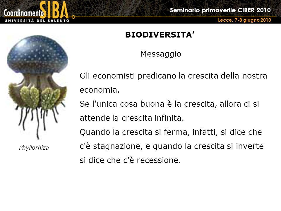 Seminario primaverile CIBER 2010 Lecce, 7-8 giugno 2010 Phyllorhiza Gli economisti predicano la crescita della nostra economia.