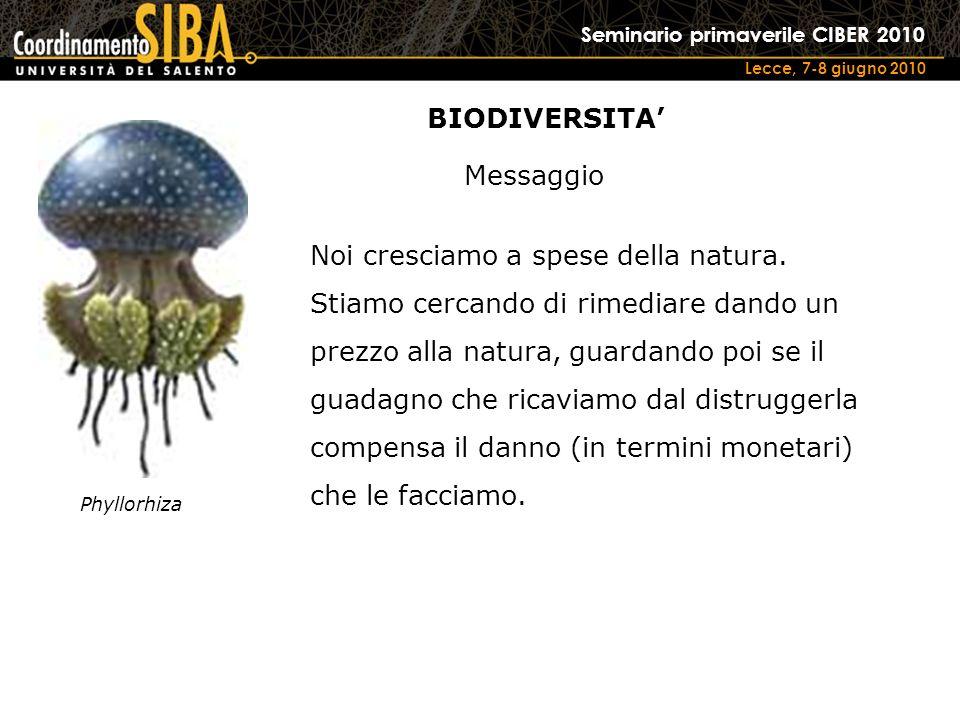 Seminario primaverile CIBER 2010 Lecce, 7-8 giugno 2010 Phyllorhiza Noi cresciamo a spese della natura.