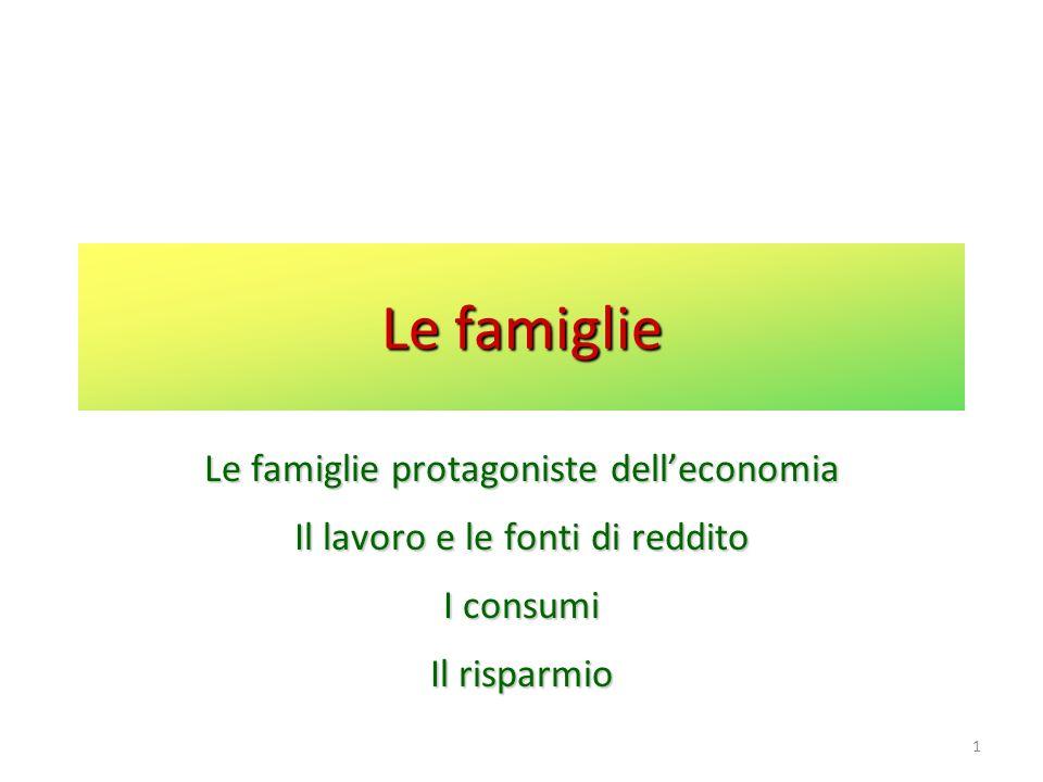 1 Le famiglie Le famiglie protagoniste delleconomia Il lavoro e le fonti di reddito I consumi Il risparmio