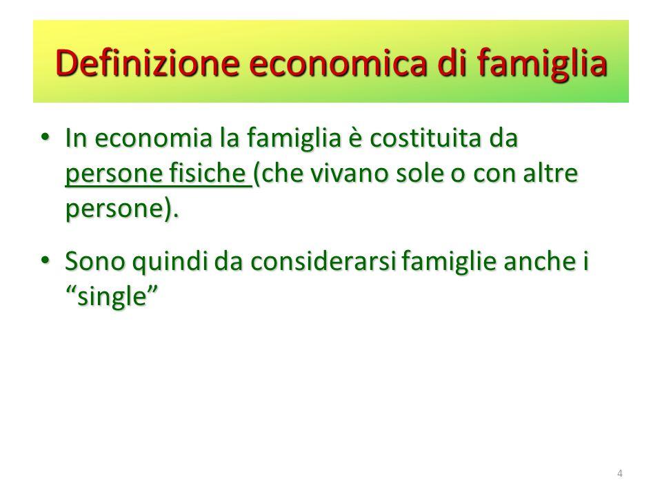 4 In economia la famiglia è costituita da persone fisiche (che vivano sole o con altre persone).