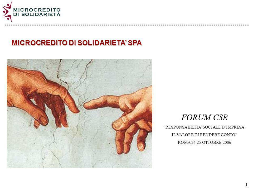 1 MICROCREDITO DI SOLIDARIETA SPA FORUM CSR RESPONSABILITA SOCIALE DIMPRESA: IL VALORE DI RENDERE CONTO ROMA 24-25 OTTOBRE 2006