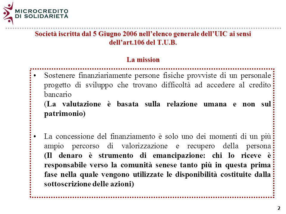 2 Società iscritta dal 5 Giugno 2006 nellelenco generale dellUIC ai sensi dellart.106 del T.U.B.
