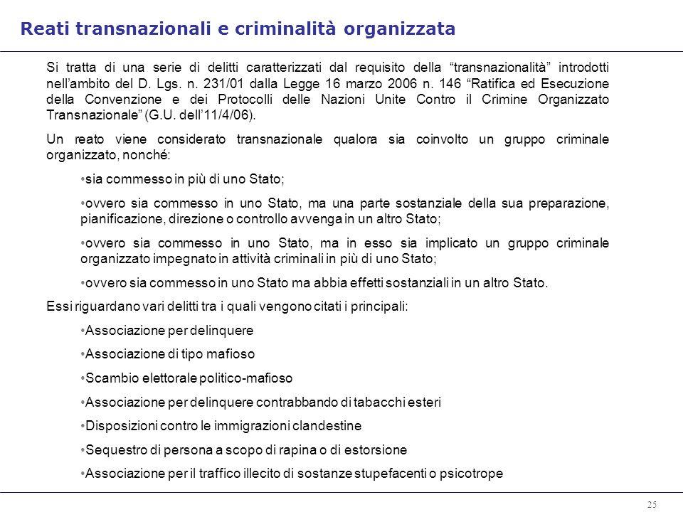 25 Si tratta di una serie di delitti caratterizzati dal requisito della transnazionalità introdotti nellambito del D.